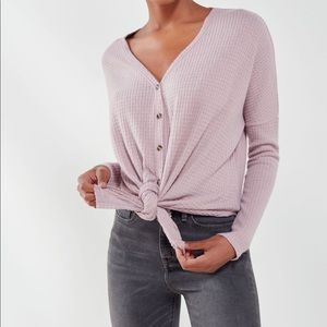 Urban outfitters oversize thermal button front top